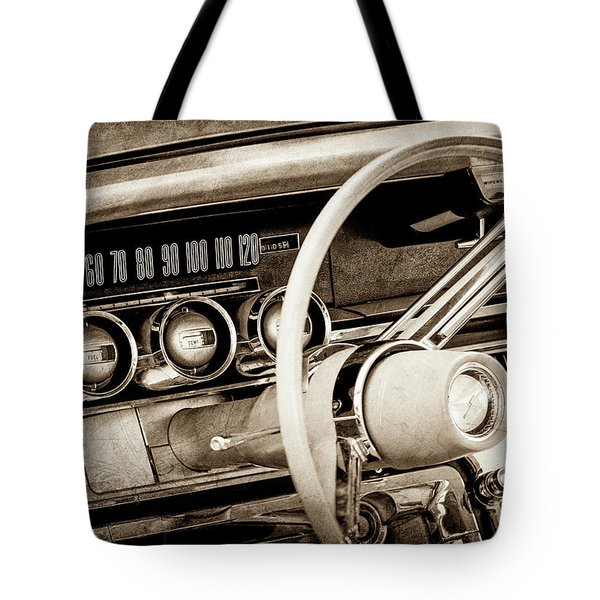 Tote Bag featuring the photograph 1964 Ford Thunderbird Steering Wheel -0280s by Jill Reger