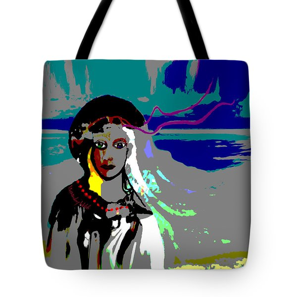 Tote Bag featuring the digital art 1964 - Walk On The Seaside by Irmgard Schoendorf Welch