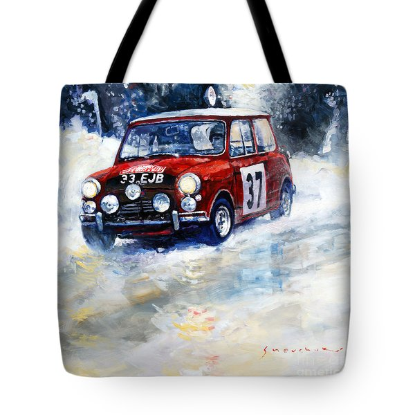 1964 Rallye Monte Carlo Mini Cooper S Hopkirk Liddon Winner Tote Bag by Yuriy Shevchuk