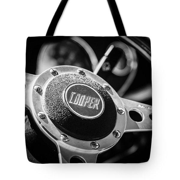 1965 Austin Mini Cooper S Steering Wheel Emblem -0634bw Tote Bag
