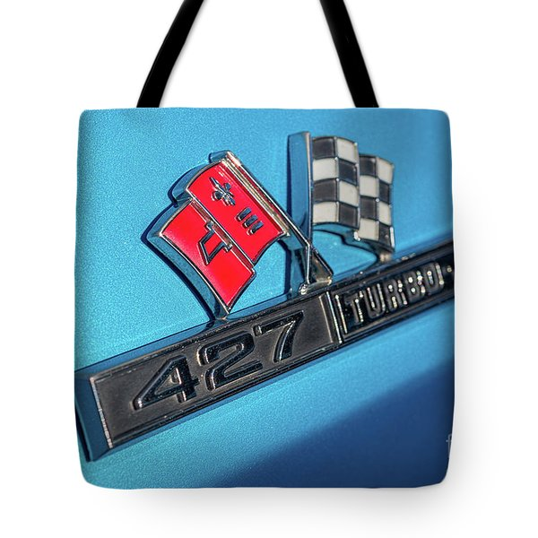 Tote Bag featuring the photograph 1965 Blue Corvette 427 Turbo Jet Emblem by Aloha Art
