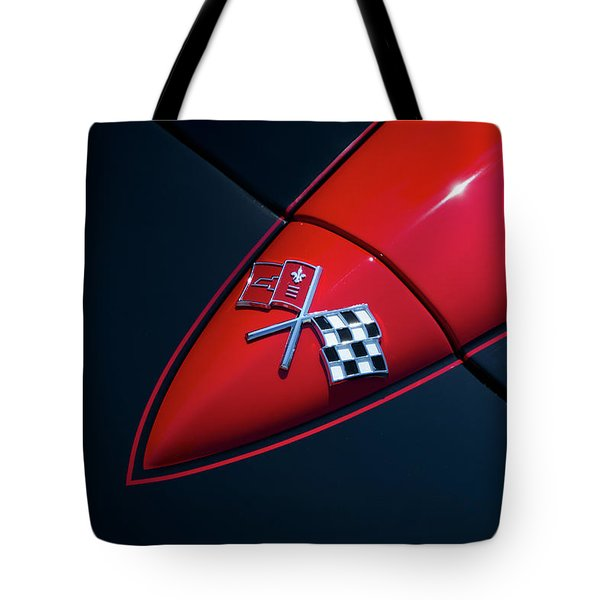Tote Bag featuring the photograph 1965 Corvette Hood by Joel Witmeyer