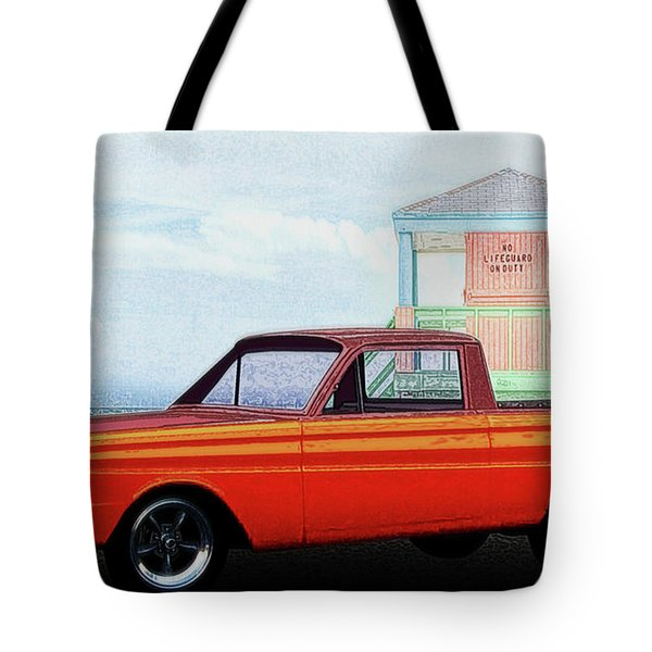 1965 Ford Falcon Ranchero Day At The Beach Tote Bag