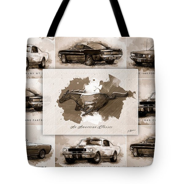 1965 Ford Mustang Collage I Tote Bag