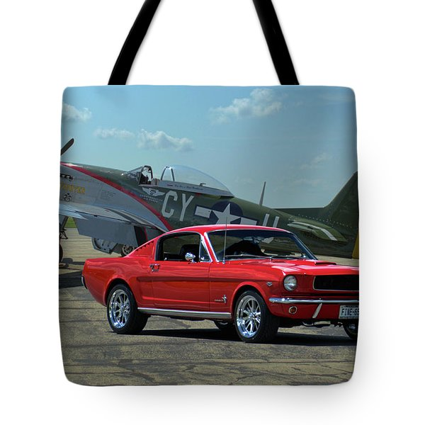1965 Mustang Fastback And P51 Mustang Tote Bag