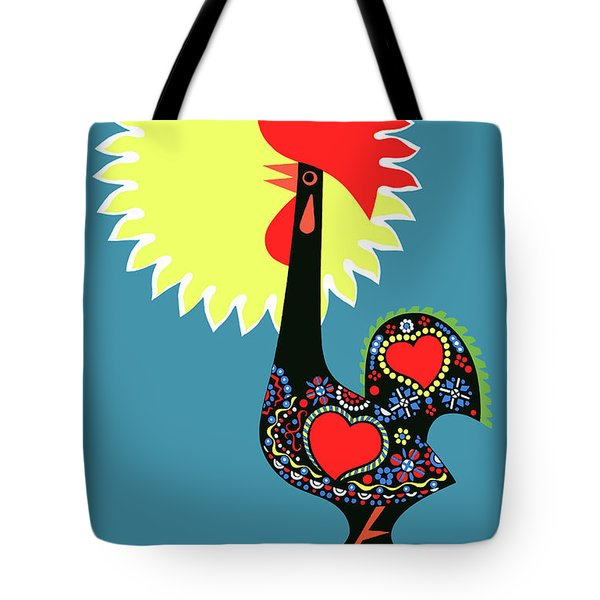 1965 Portugal Rooster Of Barcelos Travel Poster Tote Bag