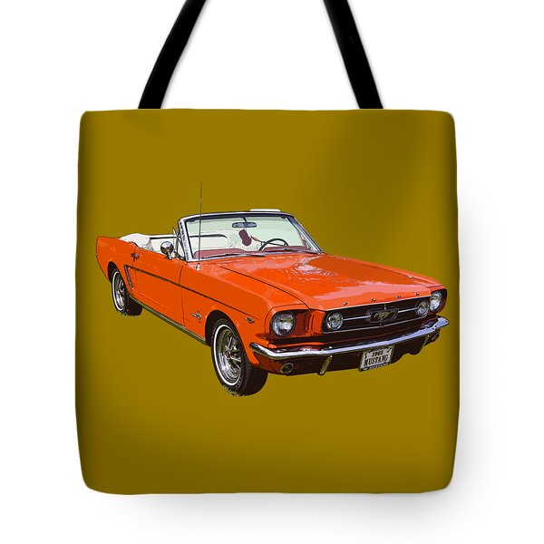 1965 Red Convertible Ford Mustang - Classic Car Tote Bag