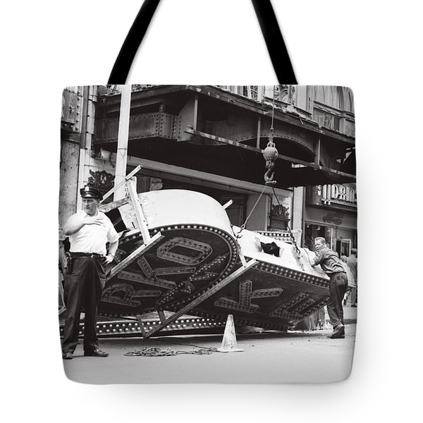 Tote Bag featuring the photograph 1965 Removing Rko Theater Sign Boston by Historic Image