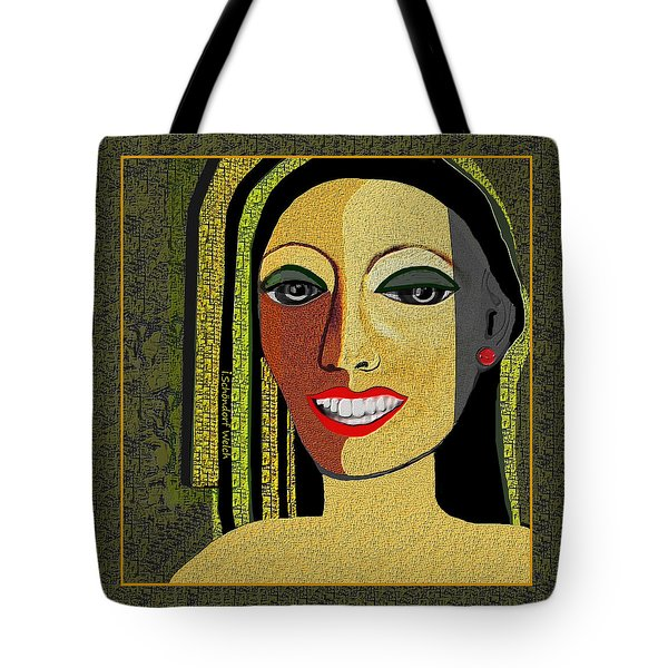 Tote Bag featuring the digital art 1966 - Lady With Beautiful Teeth by Irmgard Schoendorf Welch