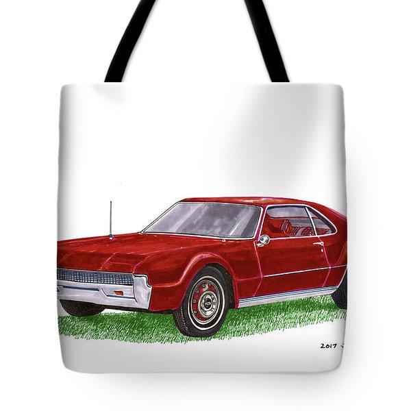 Tote Bag featuring the painting 1966 Oldsmobile Toronado by Jack Pumphrey