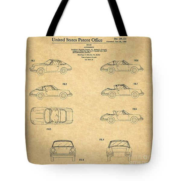 1966 Porsche Car Patent 1 Tote Bag