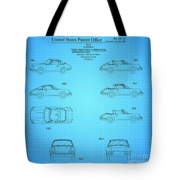 1966 Porsche Car Patent 2 Tote Bag