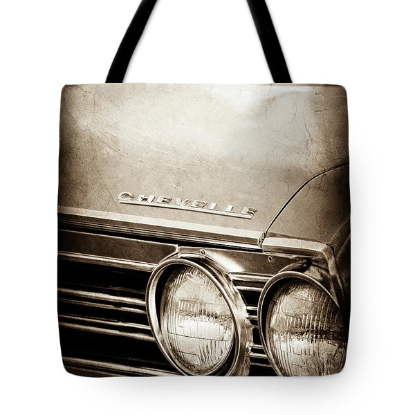 Tote Bag featuring the photograph 1967 Chevrolet Chevelle Ss Super Sport Emblem -0413s by Jill Reger