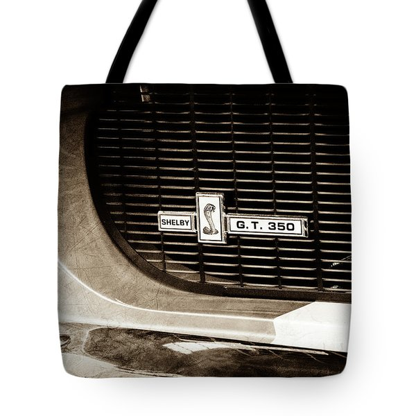 Tote Bag featuring the photograph 1967 Ford Gt 350 Shelby Clone Grille Emblem -0759s by Jill Reger