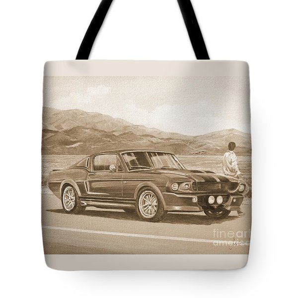 1967 Ford Mustang Fastback In Sepia Tote Bag