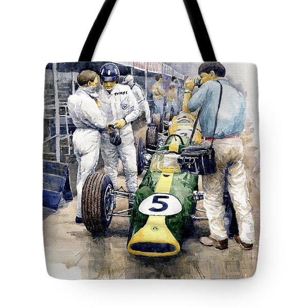 1967 Lotus 49t Ford Coswoorth Jim Clark Graham Hill Tote Bag by Yuriy Shevchuk