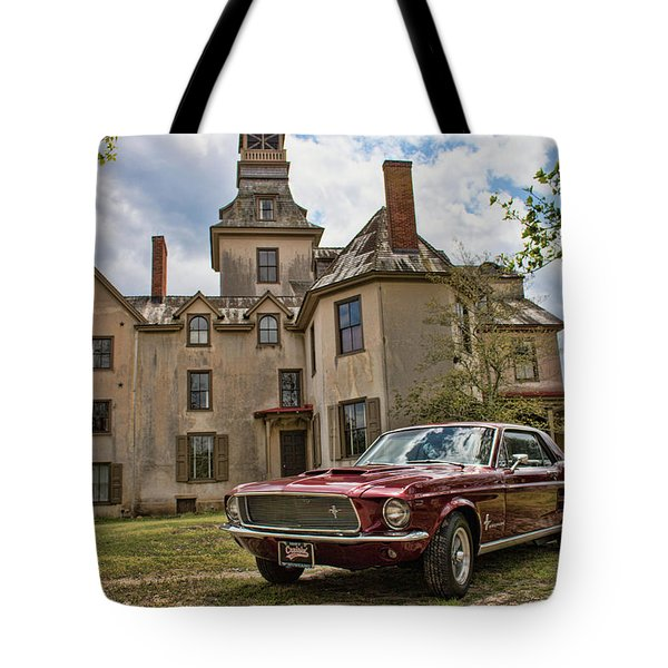 1967 Mustang At The Mansion Tote Bag