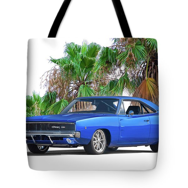 1968 Dodge Charger Rt 'mighty Mopar Muscle' Tote Bag