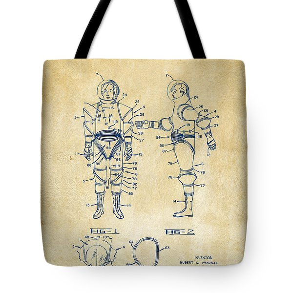 1968 Hard Space Suit Patent Artwork - Vintage Tote Bag by Nikki Marie Smith