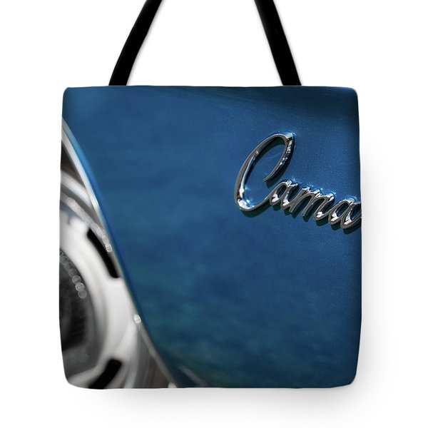 Tote Bag featuring the photograph 1969 Chevrolet Camaro Z28 Emblem by Ron Pate