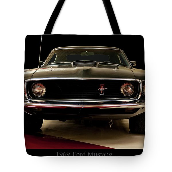 Tote Bag featuring the digital art 1969 Ford Mustang by Chris Flees