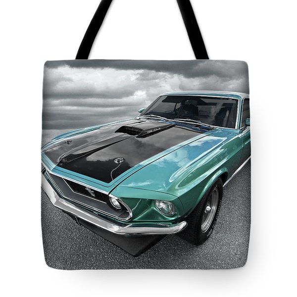 1969 Green 428 Mach 1 Cobra Jet Ford Mustang Tote Bag