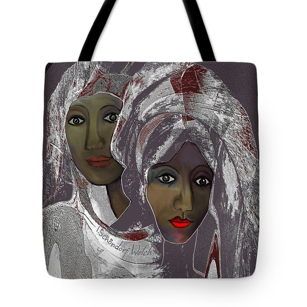 Tote Bag featuring the digital art 1969 -  White Veils by Irmgard Schoendorf Welch