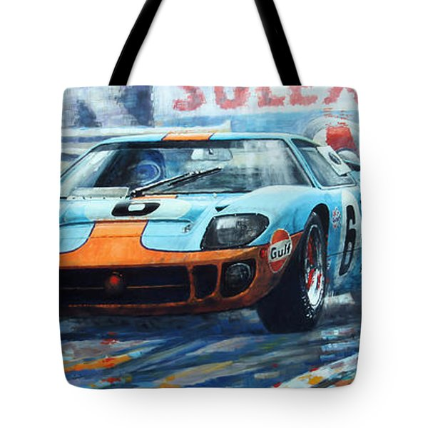 1969 Le Mans 24 Ford Gt 40 Ickx Oliver Winner  Tote Bag by Yuriy Shevchuk