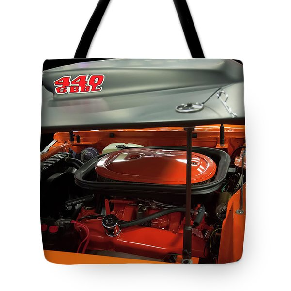 Tote Bag featuring the painting 1969 Plymouth Road Runner A12 440 6 Pack by Chris Flees