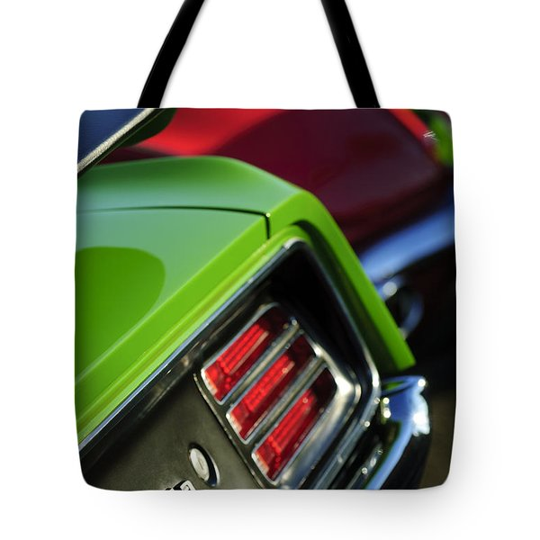 1970 Plymouth Barracuda Cuda Taillight Emblem Tote Bag by Jill Reger