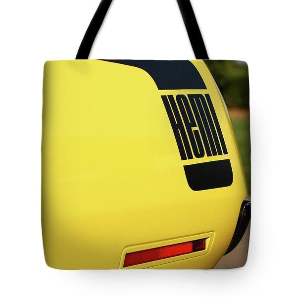 1970 Plymouth Hemi Cuda Drivers Rear Hockey Stripe Tote Bag by Gordon Dean II