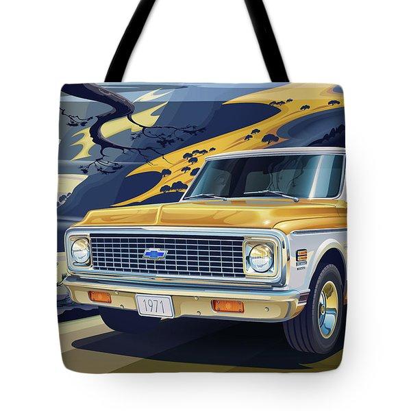 1971 Chevrolet C10 Cheyenne Fleetside 2wd Pickup Tote Bag