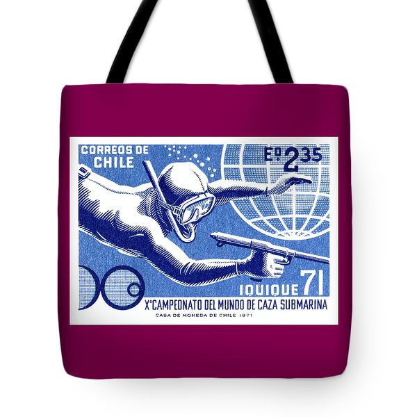 1971 Chile Spearfishing Championship Postage Stamp Tote Bag