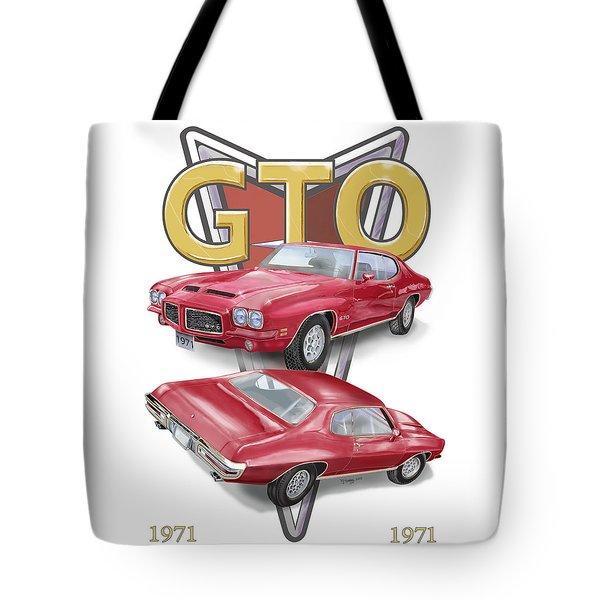 1971 Pontiac Gto Tote Bag by Thomas J Herring