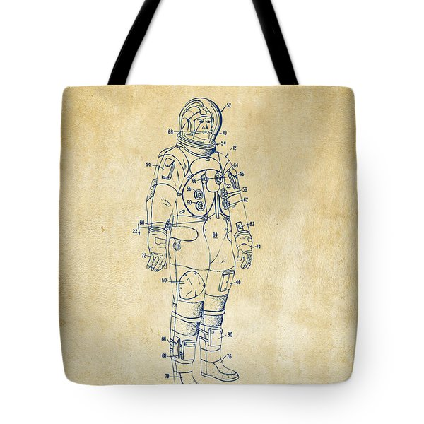 1973 Astronaut Space Suit Patent Artwork - Vintage Tote Bag by Nikki Marie Smith