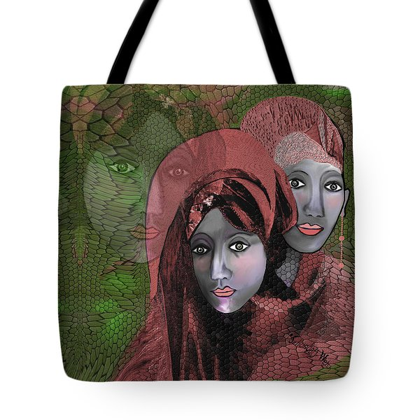 Tote Bag featuring the digital art 1974 - Women In Rosecoloured Clothes - 2017 by Irmgard Schoendorf Welch