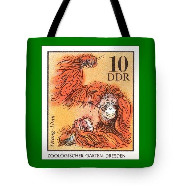 1975 East Germany Zoo Orangutan Postage Stamp Tote Bag