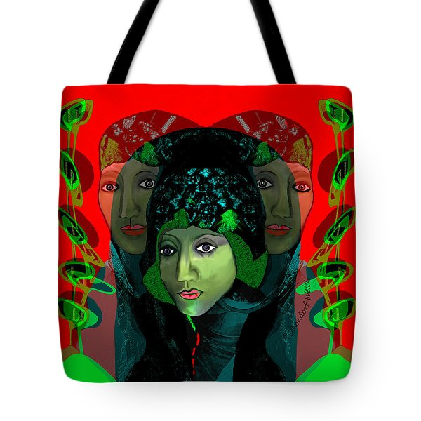 Tote Bag featuring the digital art 1975 - Mystery Woman by Irmgard Schoendorf Welch