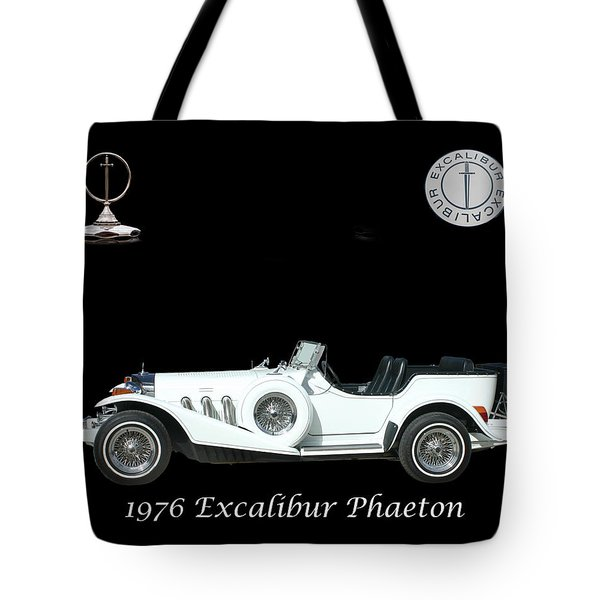 Tote Bag featuring the mixed media 1976 Excalibur Poster by Jack Pumphrey