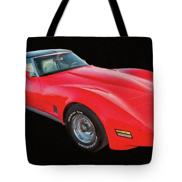1977 Chevy Corvette T Tops Digital Oil Tote Bag