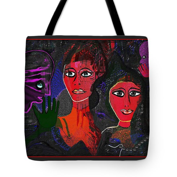 Tote Bag featuring the digital art 1977 - Faces Red by Irmgard Schoendorf Welch
