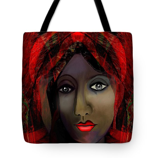 Tote Bag featuring the digital art 1980 -  Leading Into Temptation 2017 by Irmgard Schoendorf Welch