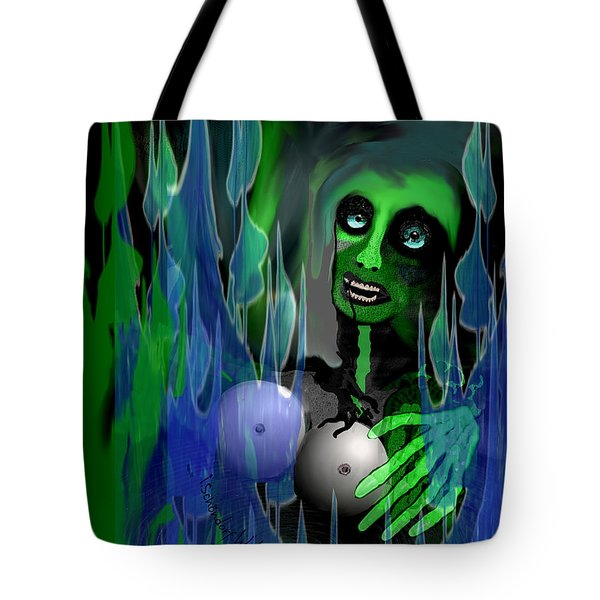 Tote Bag featuring the digital art 1981 - But My New Silicon Breasts Will Last Forever 2017 by Irmgard Schoendorf Welch