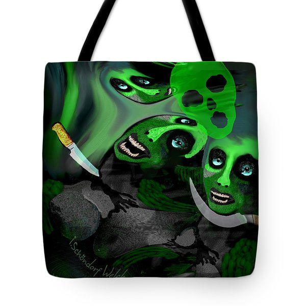 Tote Bag featuring the digital art  1982 Violence And Fear 2017 by Irmgard Schoendorf Welch