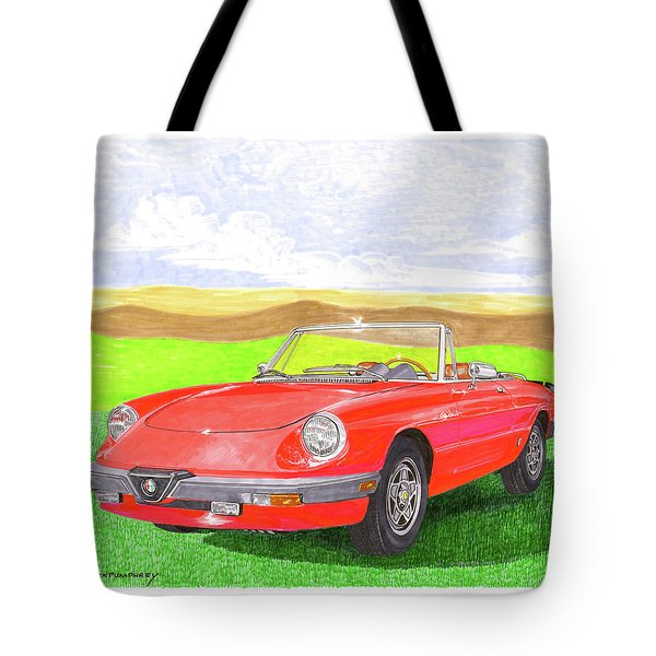 Tote Bag featuring the painting 1983 Alfa Romero Spider Veloce by Jack Pumphrey