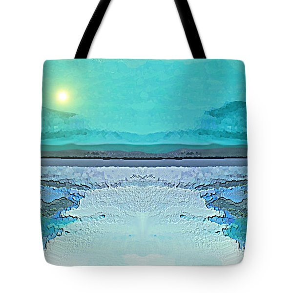 Tote Bag featuring the digital art 1983 - Blue Waterland -  2017 by Irmgard Schoendorf Welch