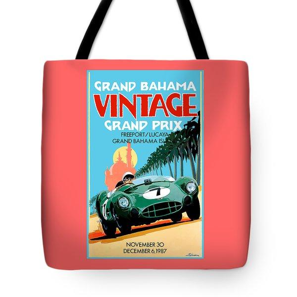 1987 Grand Bahama Vintage Grand Prix Race Poster Tote Bag
