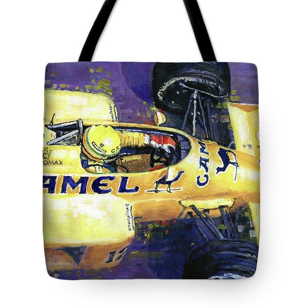 1987 Spa Francorchamps Lotus 99t Ayrton Senna Tote Bag by Yuriy Shevchuk