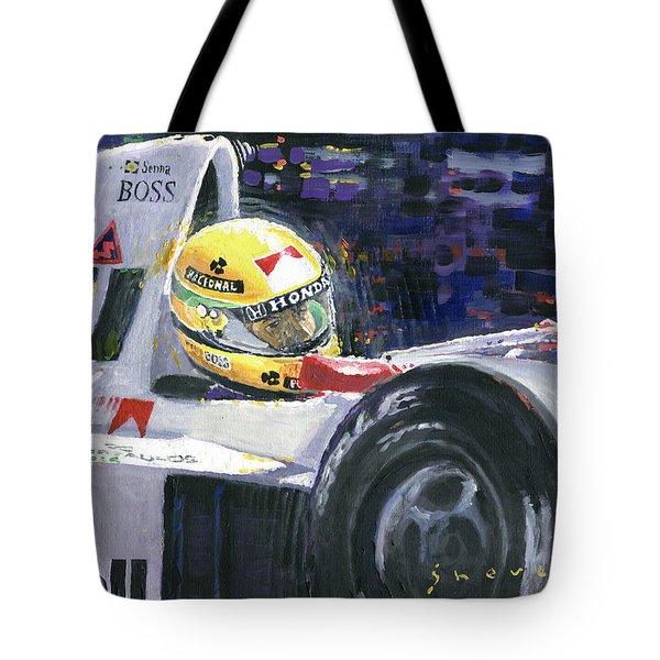 1990 Mclaren Honda Mp4 5b Ayrton Senna World Champion Tote Bag by Yuriy Shevchuk