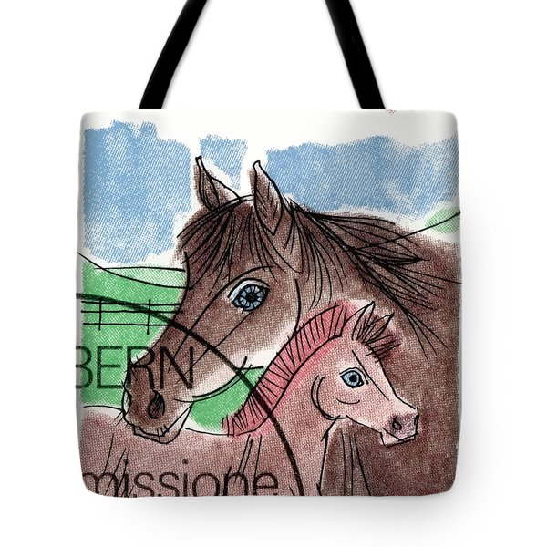 1993 Switzerland Horses Postage Stamp Tote Bag
